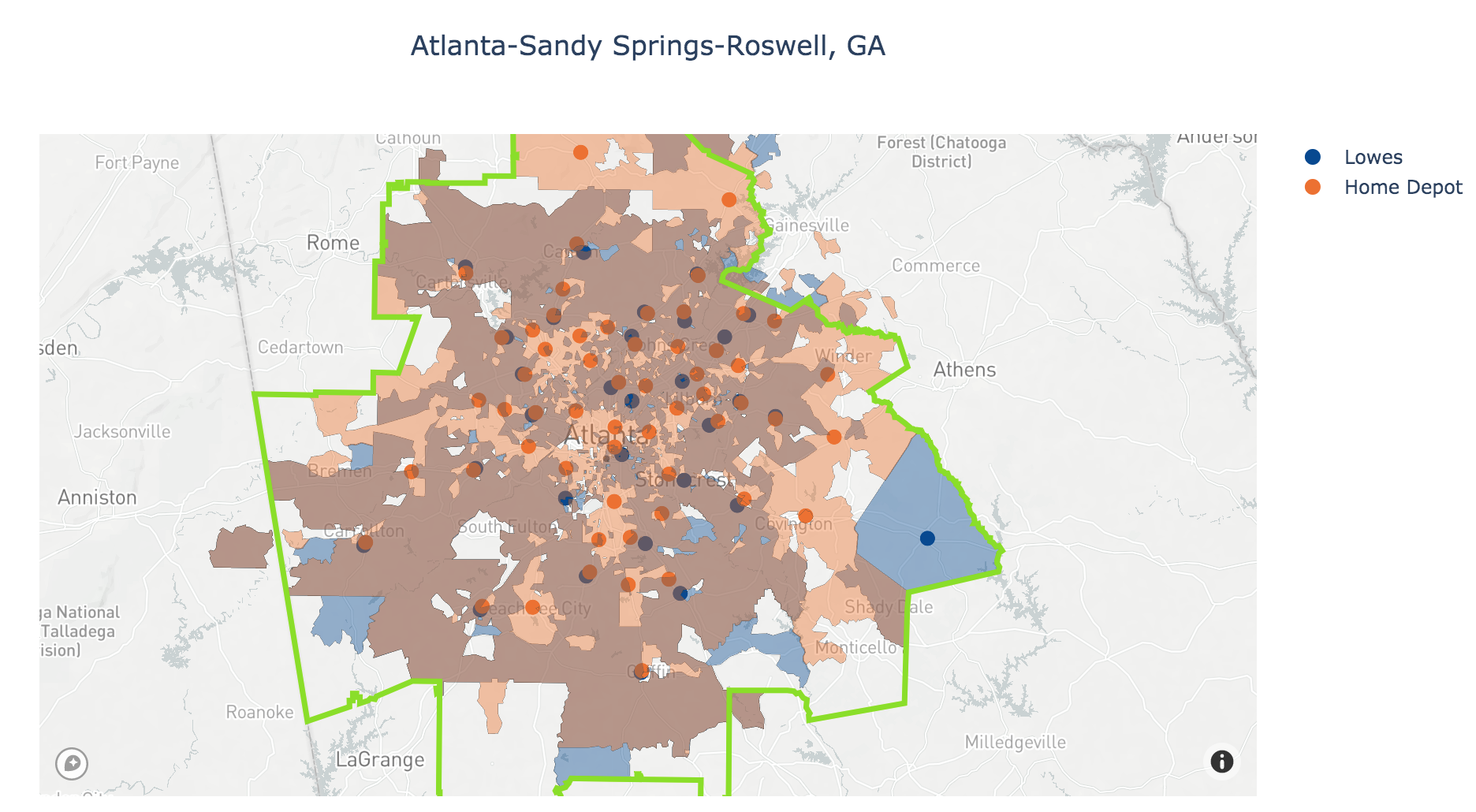 Home Depot and Lowes Trade Areas in Atlanta