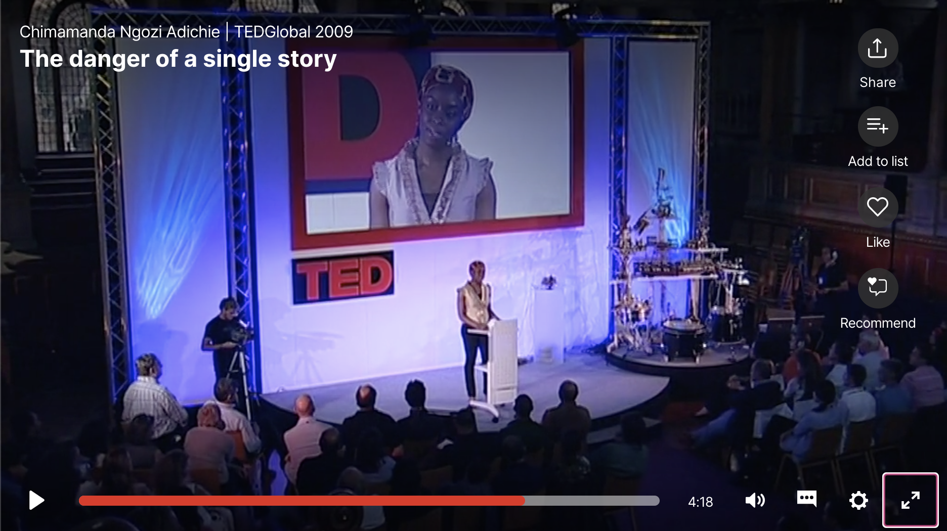 Photo of Adichie at her TED TALK