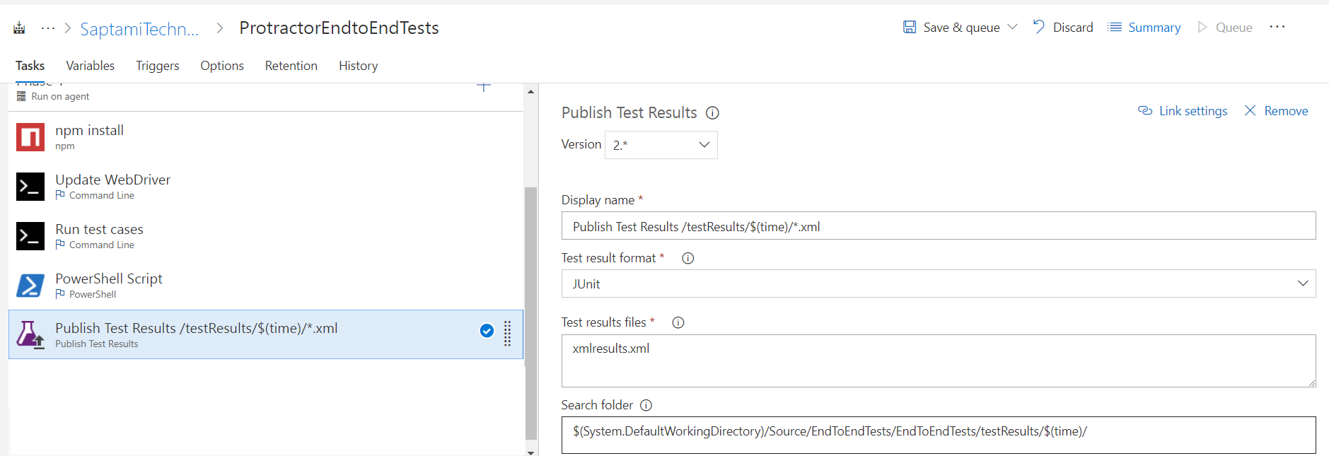 Protractor End to End Tests Configure on CI/CD TFS/VSTS
