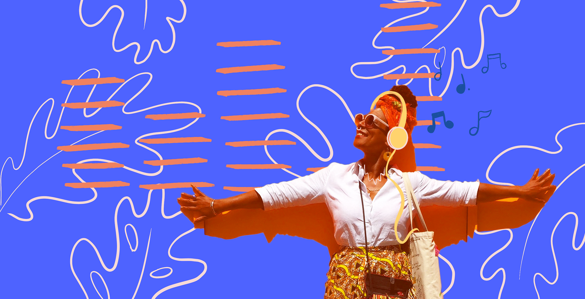 Smiling Afro-Latina with headphones over a colorful, bright blue tropical background pattern
