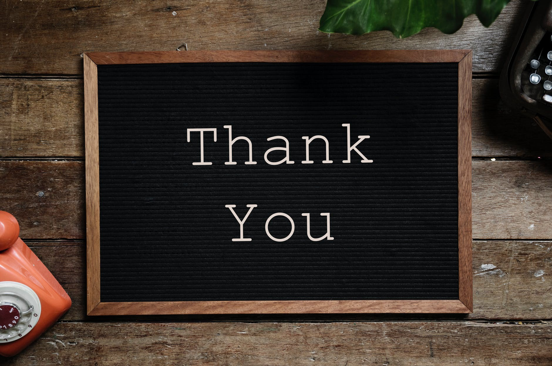 A sign which says thank you