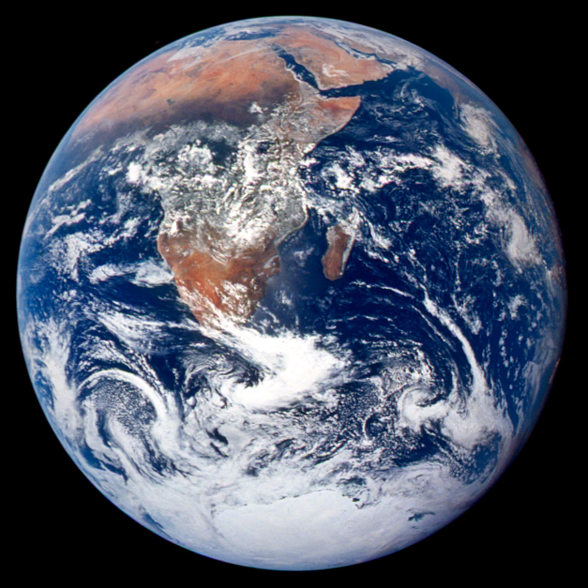 Image of the Earth as seen from space. Photo captured by Apollo 17 astronauts in 1972.