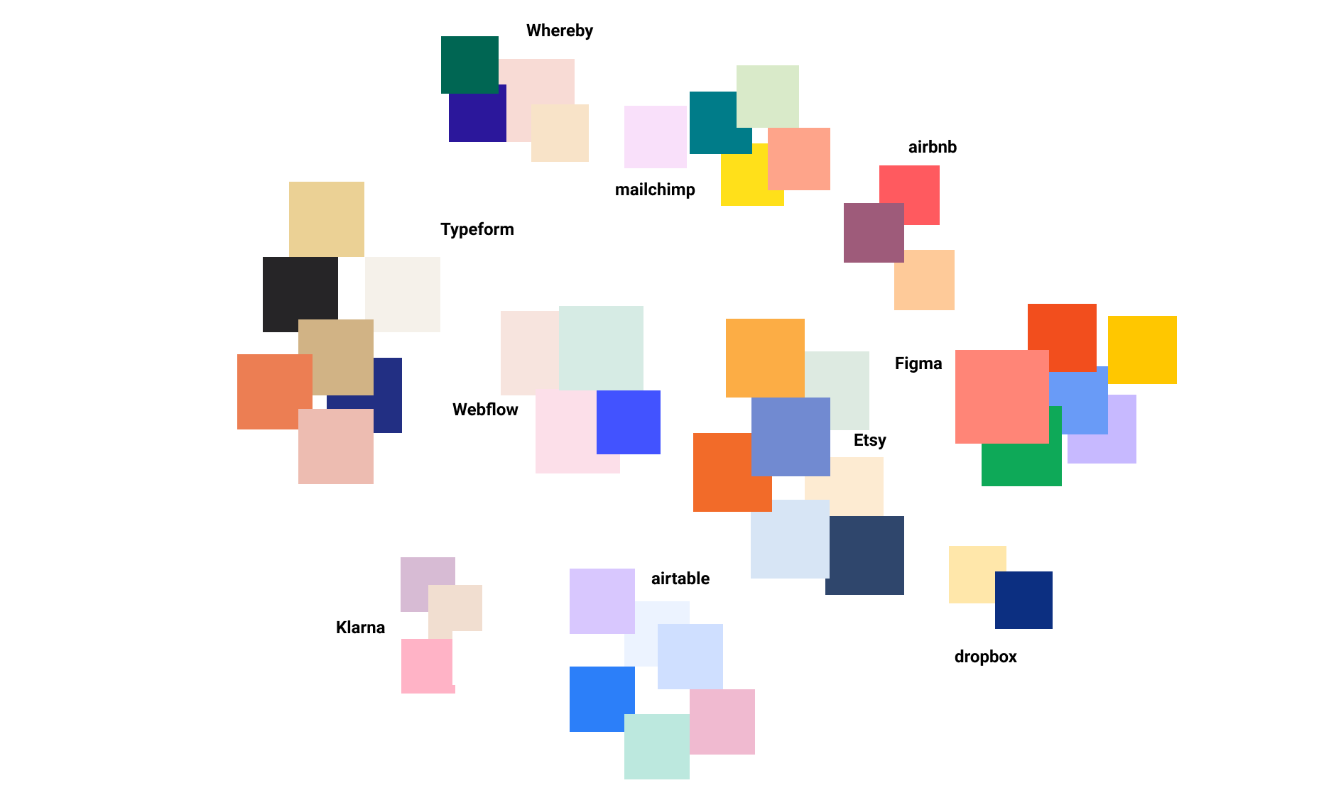 Color swatches from other tech company websites