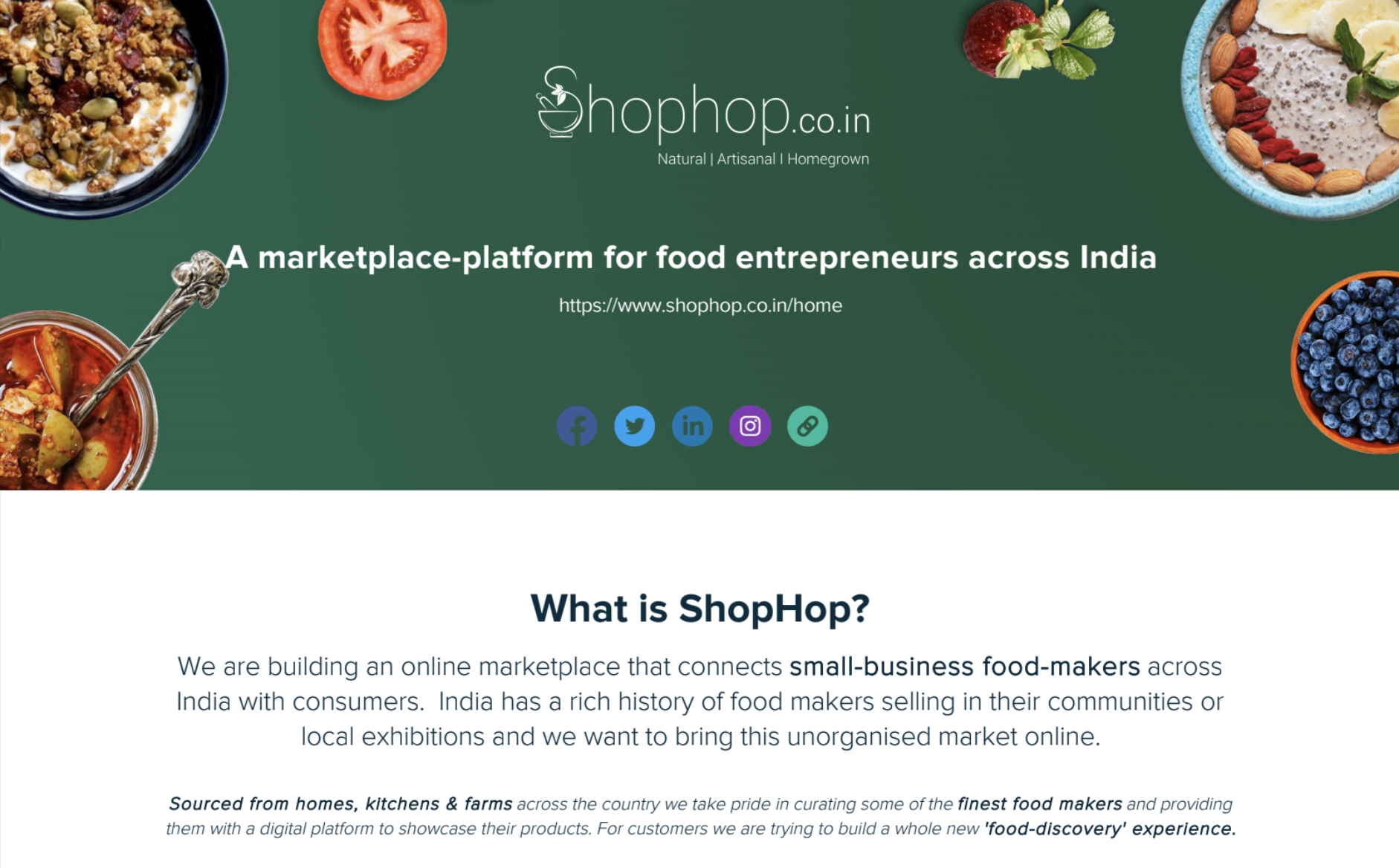 The header of ShopHop's 1-pager that made it to the inboxes of at least 200 angel investors in India..