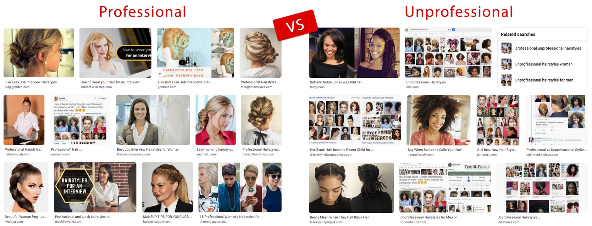 Side by side comparison of search engine results for professional hairstyles vs. unprofessional hairstyles