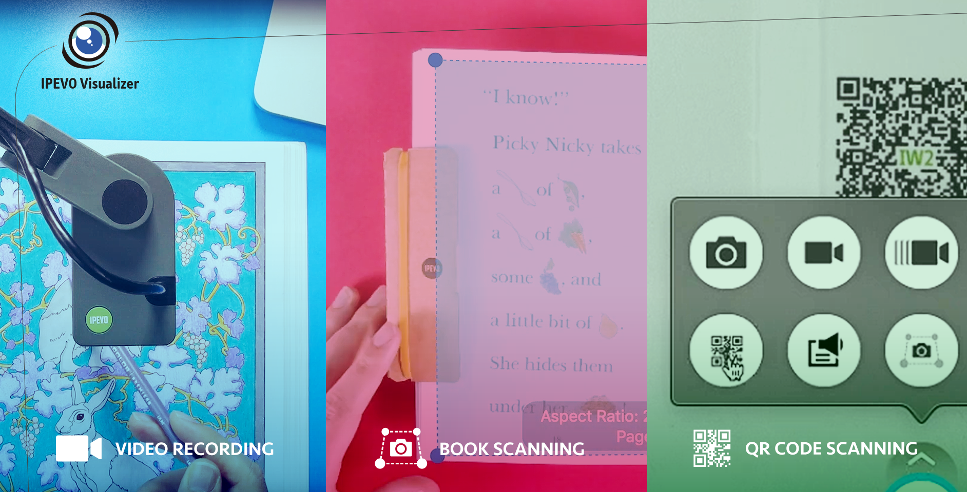 "Video recording, book scanning and QR code scanning — A short ""guided tour"" to three features of IPEVO's Visualizer software"