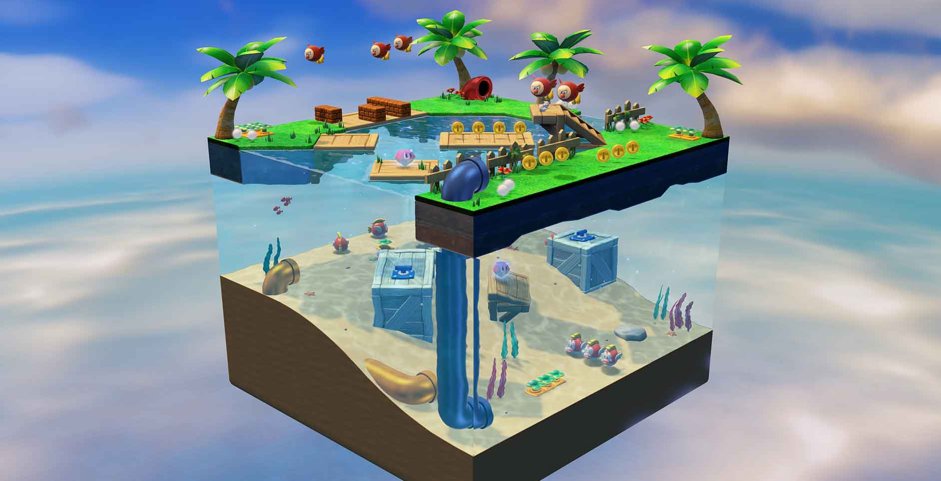 A screenshot of the Captain Toad: Treasure Tracker game depicting a cubic, isolated beach environment