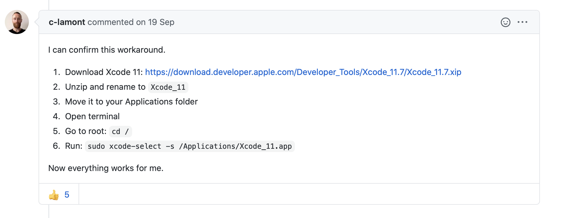 Screenshot from a forum explaining how to roll back to using Xcode 11 instead of Xcode 12