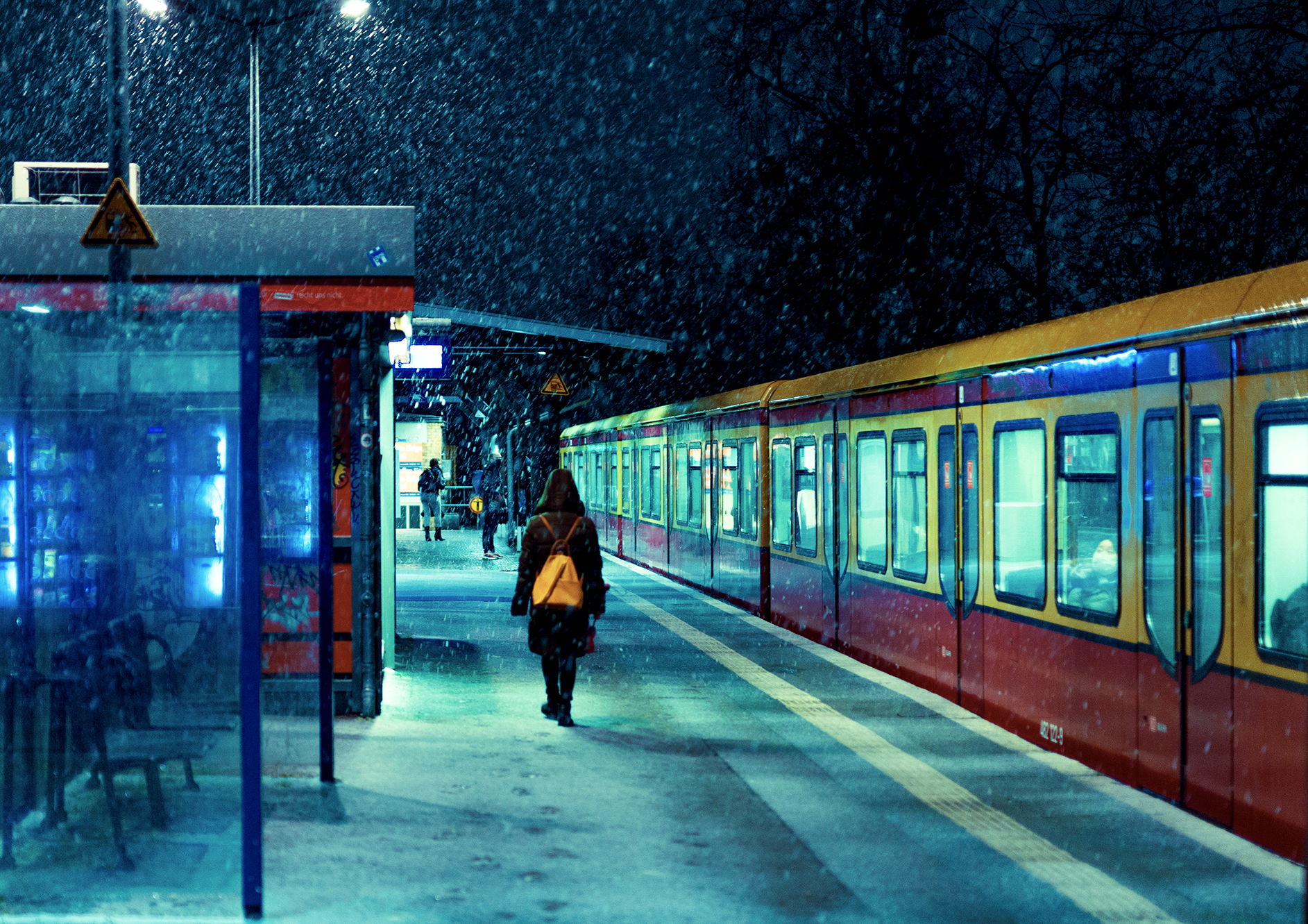 Snowy train Station in Berlin, 2021