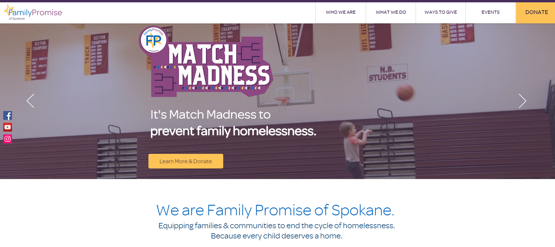 Family Promise of Spokane's homepage.