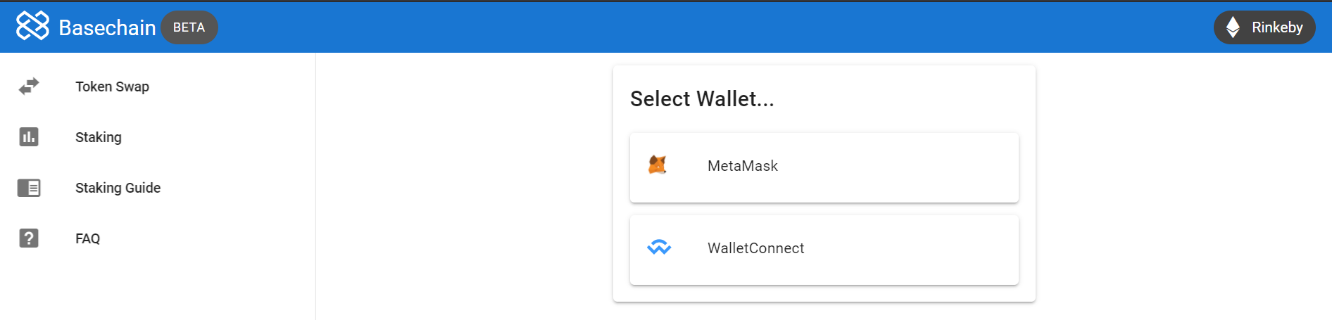 Wallet selection page on the new dashboard