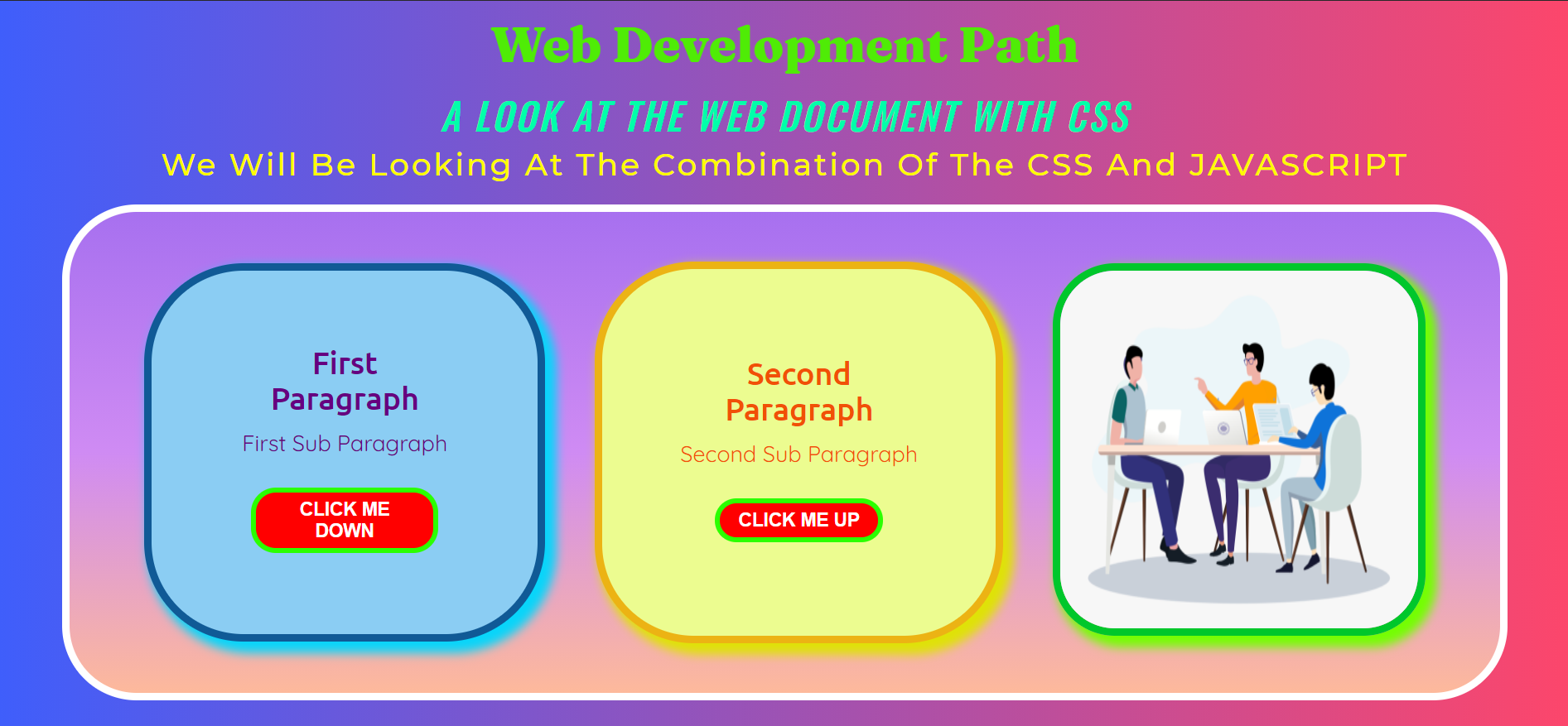 Page after completion of animation and transition which are applied in CSS.