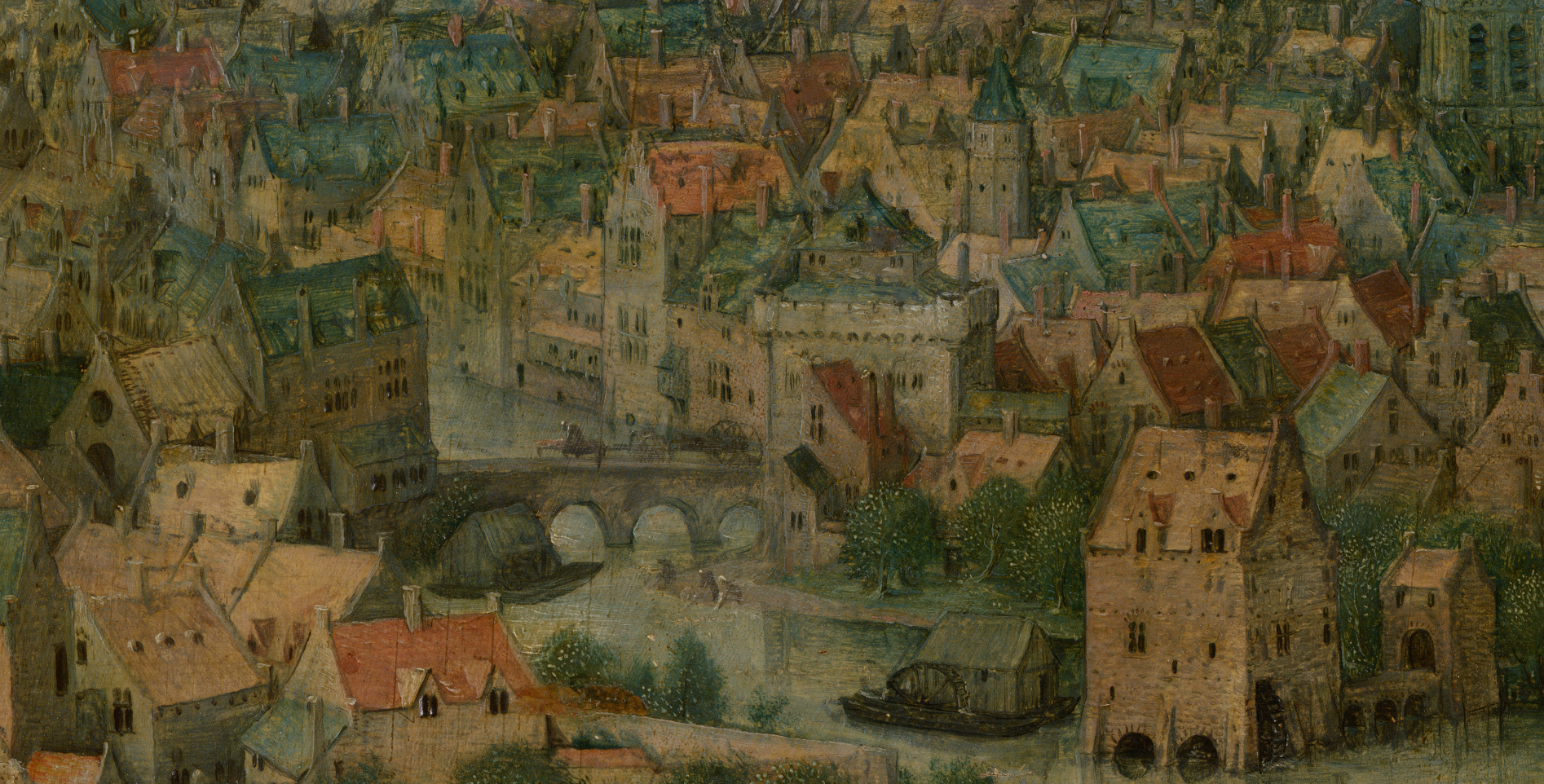 The Tower of Babel in zoom view. Image of the city (with a bridge between sections) located next to the tower.