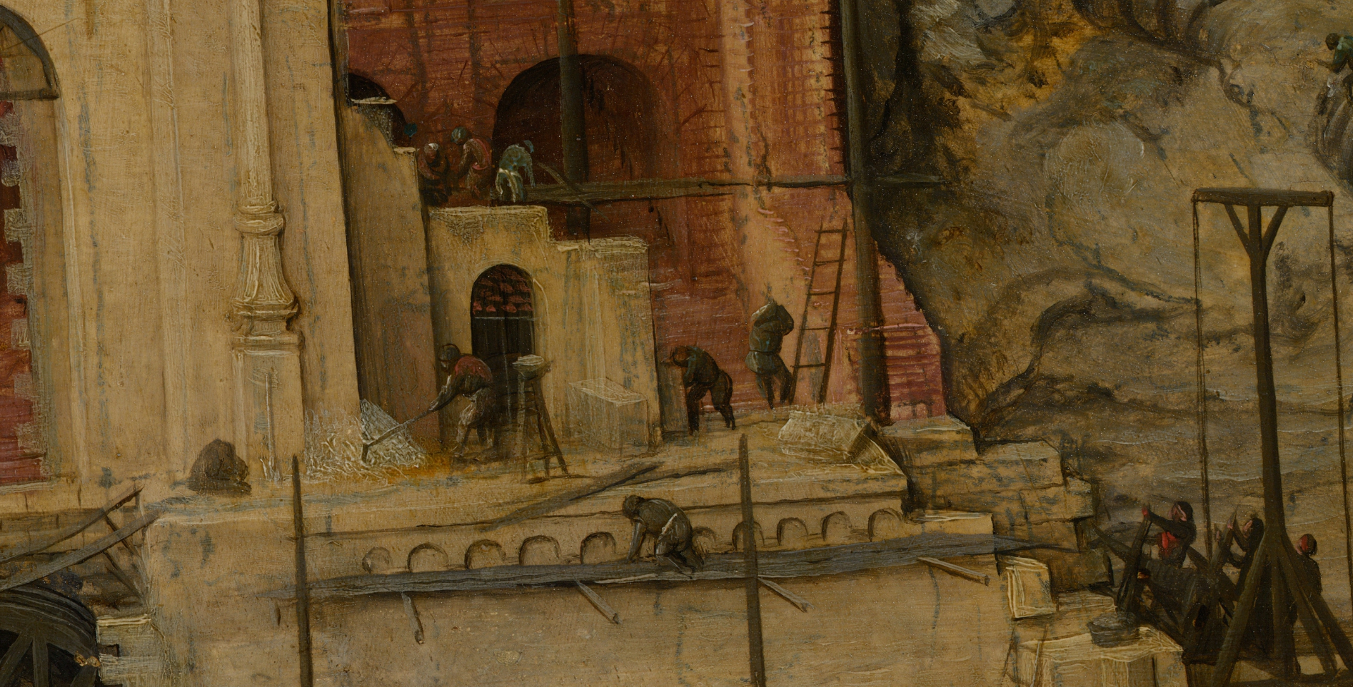 Pieter Bruegel, the Elder's painting The Tower of Babel in zoom view. Close up view of workers on the tower.
