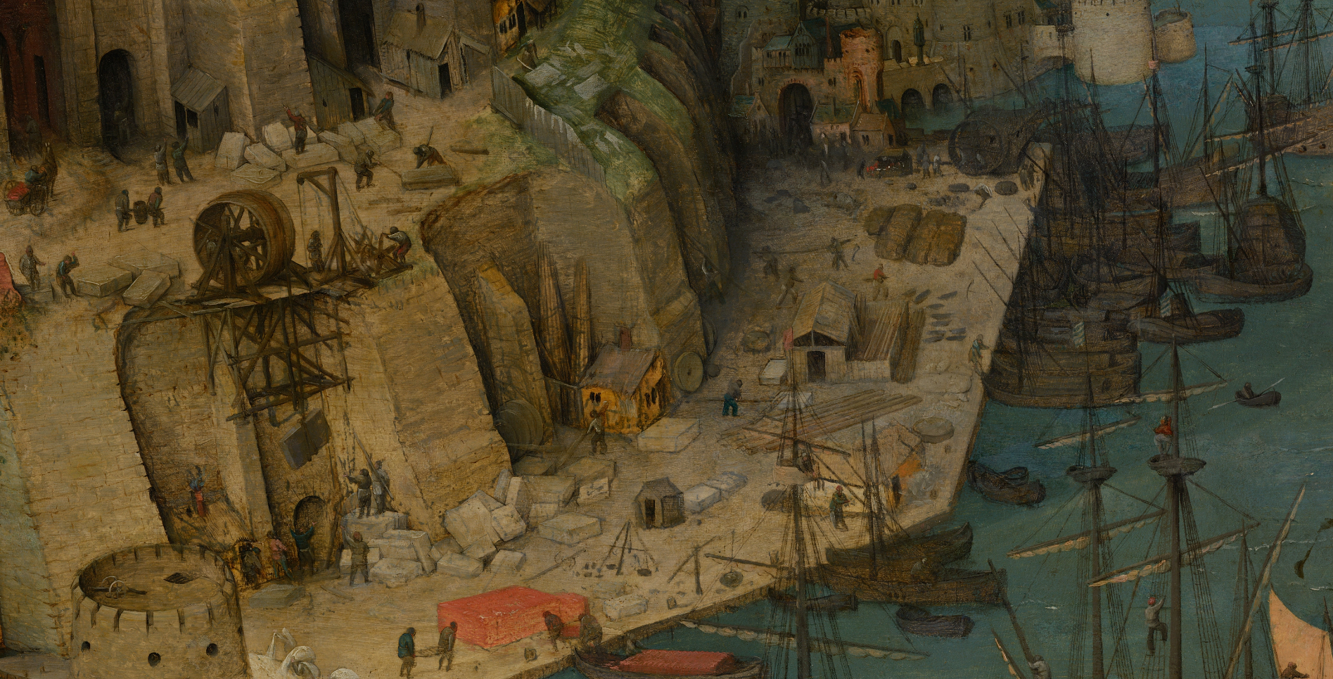 Pieter Bruegel, the Elder's painting The Tower of Babel in zoom view. View of ships bringing building materials. (Lower left)
