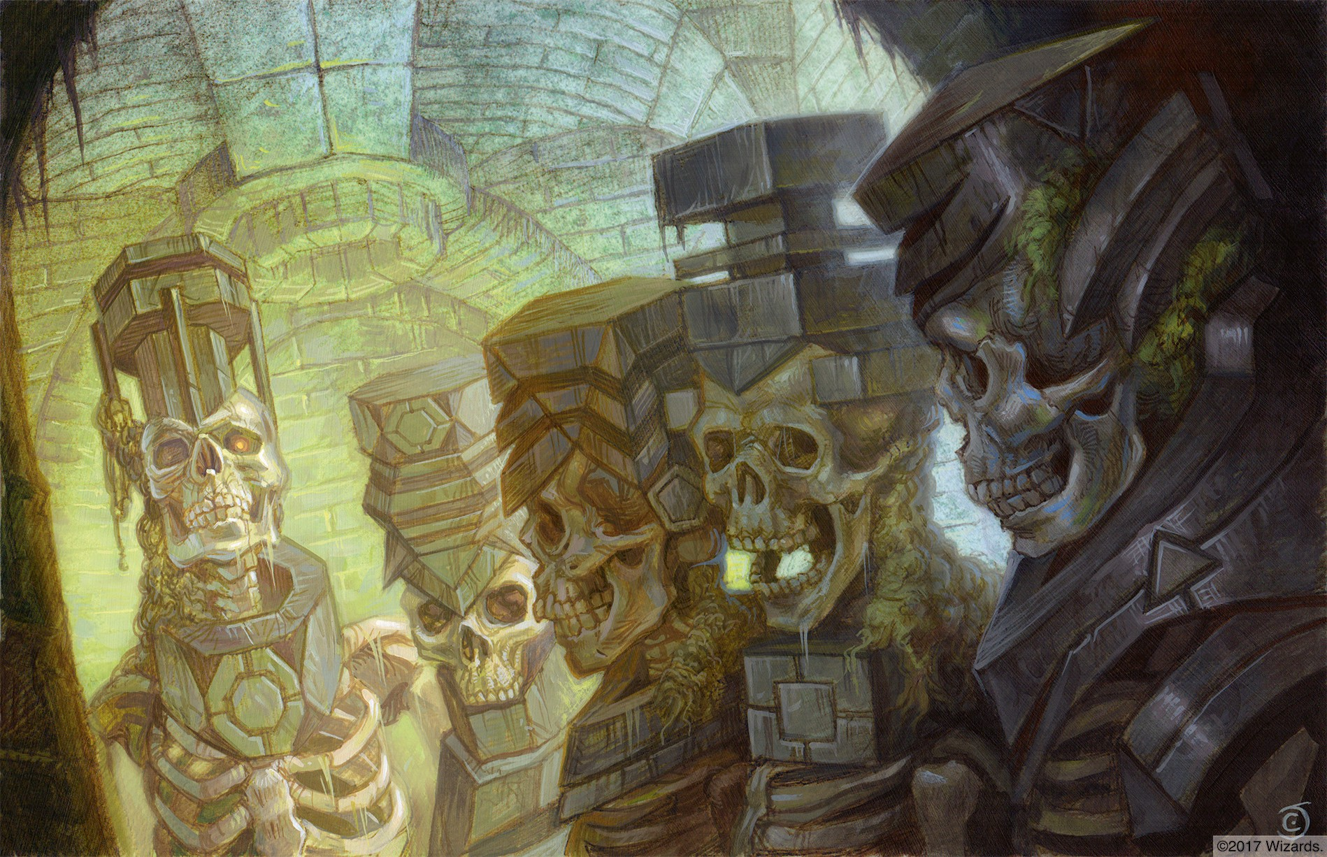They five skeleton keys from Acererak's dungeon each display their different geometrical shapes.
