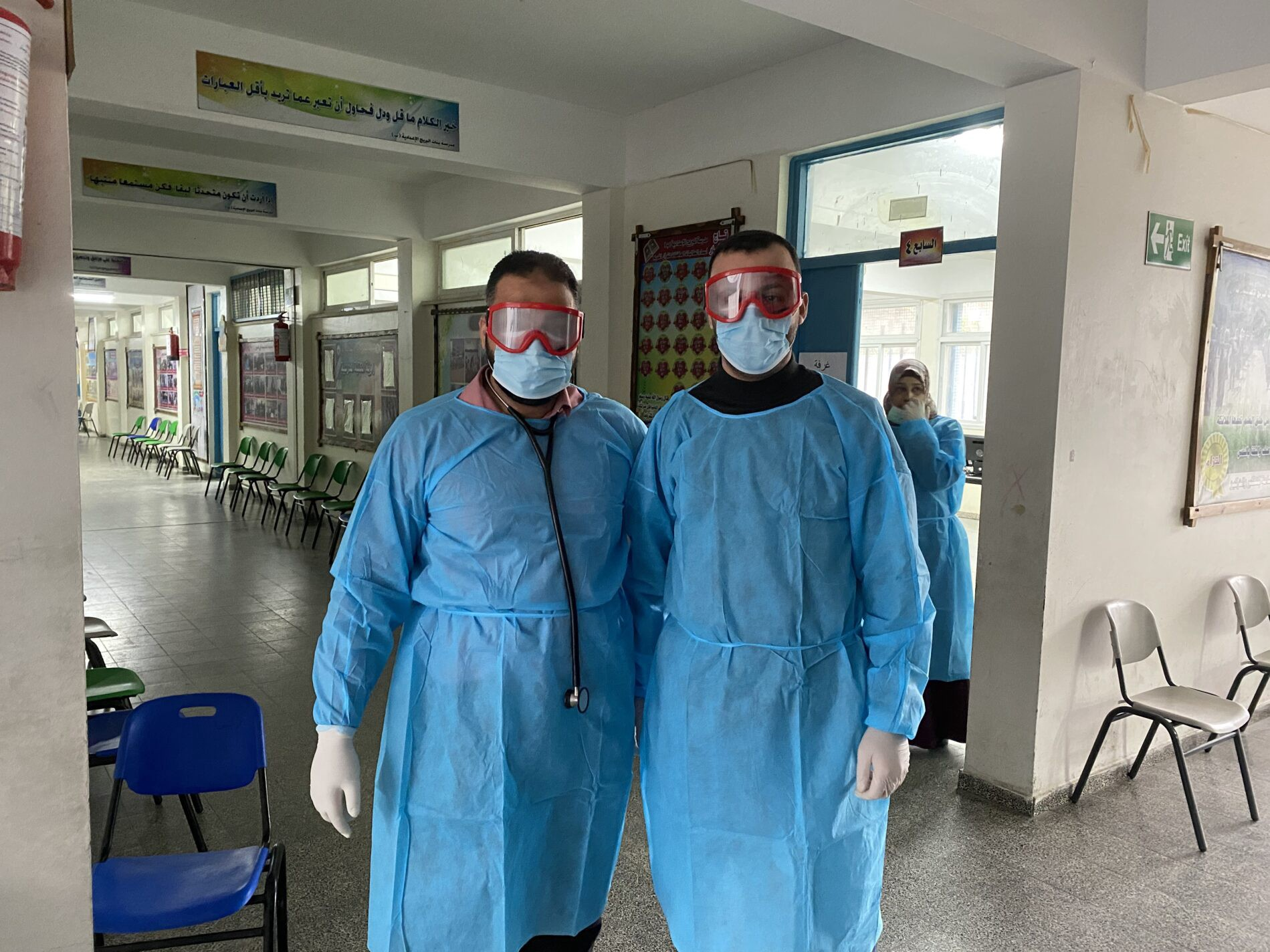 Health staff at Beit Hanoun Health Centre in Gaza wearing full personal protective equipment to protect themselves and others