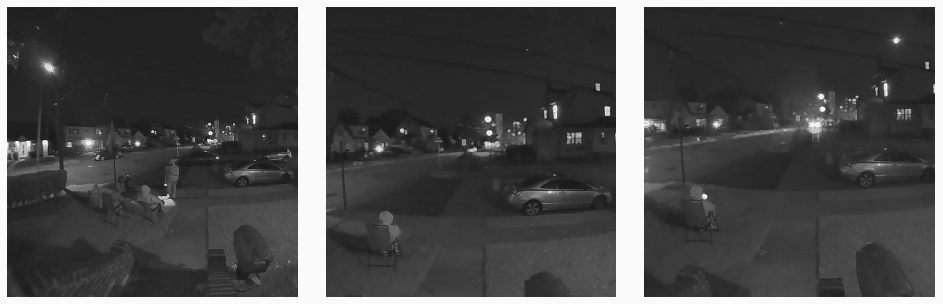 Images from the security camera on Jennifer McLeggan's house of Anthony Herron Jr. sitting watch in front of the house.