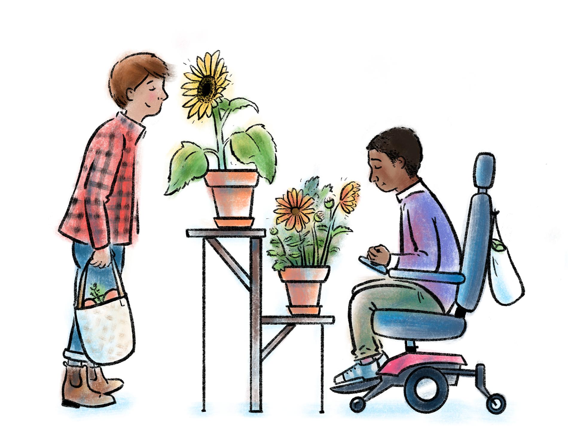 A person using a wheelchair and a person standing each enjoying the aroma of some potted flowers.