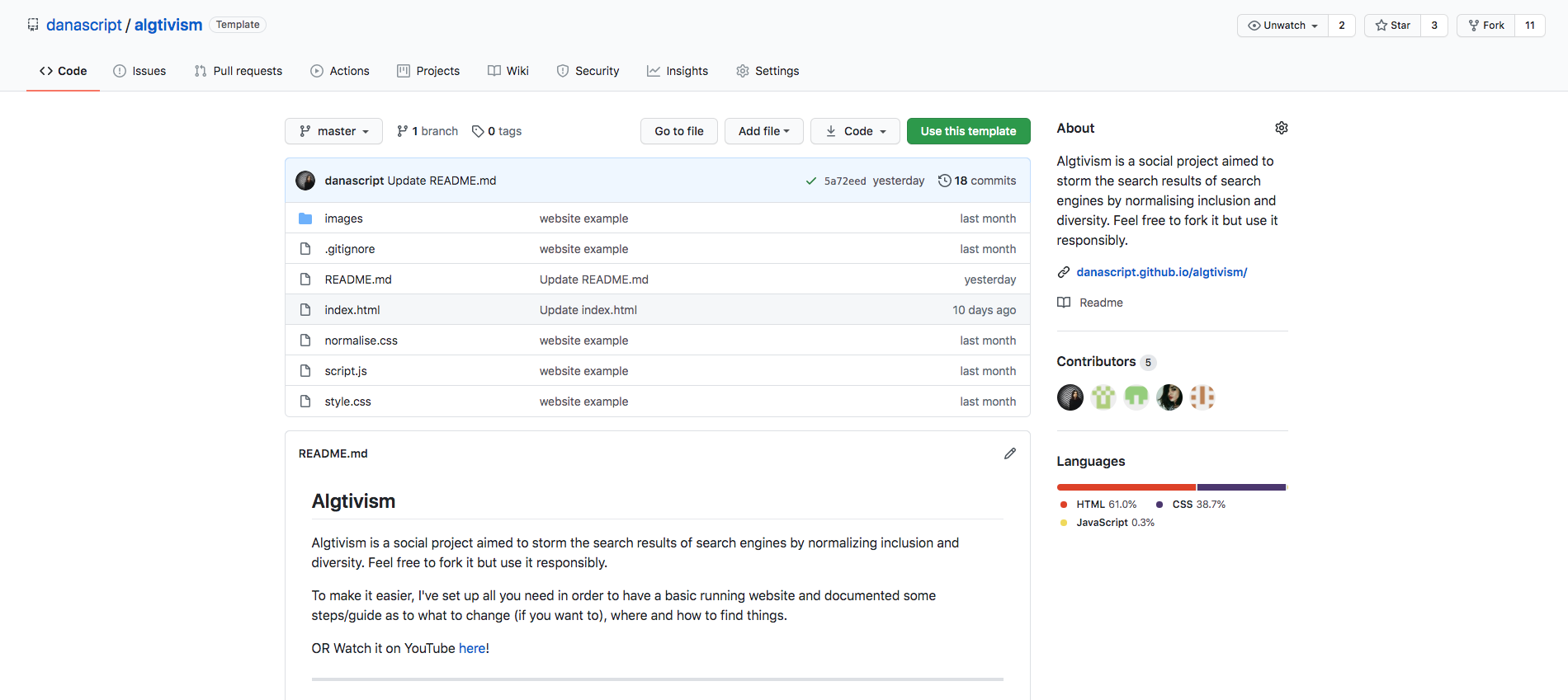 Screenshot of the GitHub repository of #algtivism