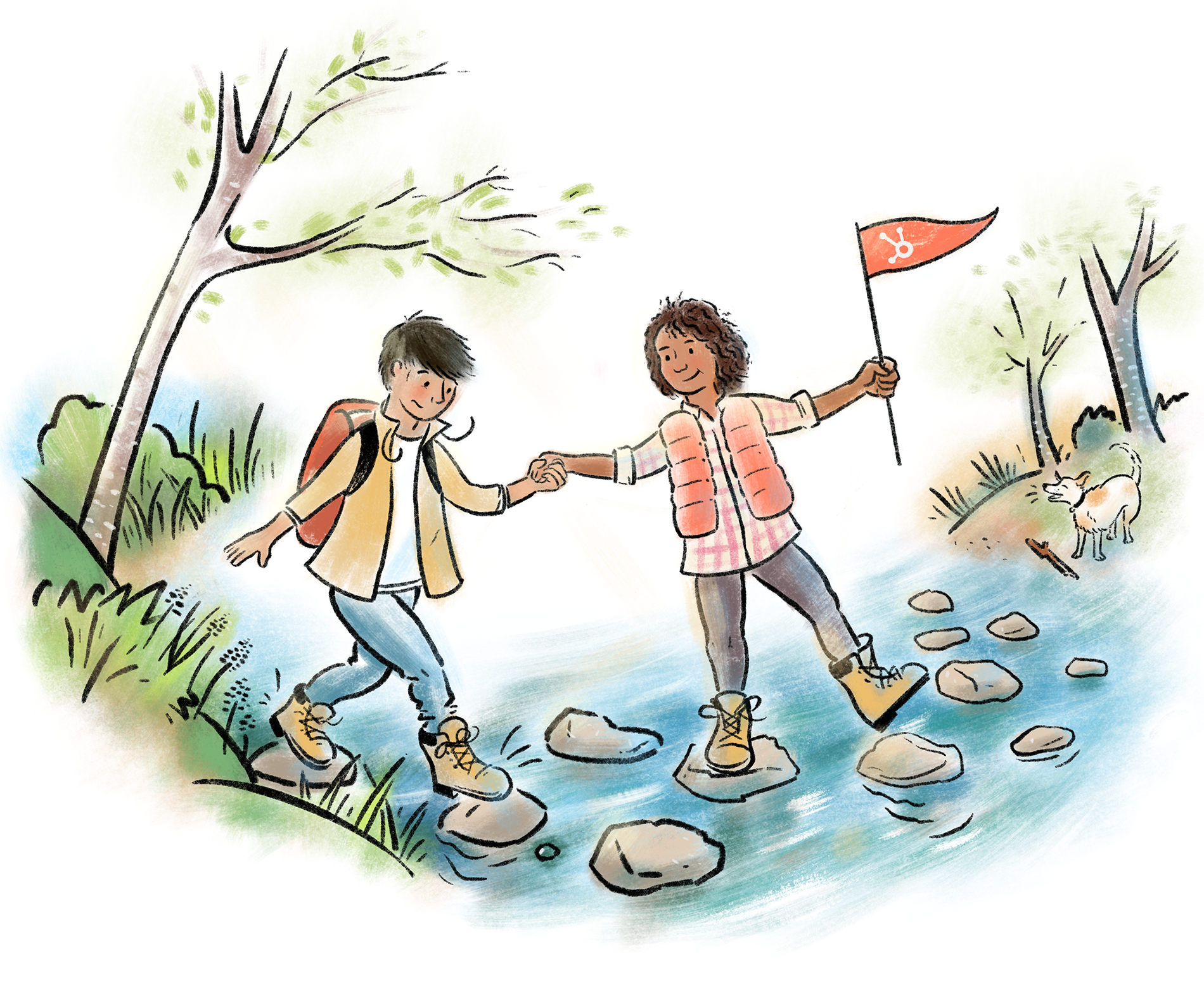 A smiling woman in hiking clothes helps a person step across stones in a river while a friendly dog barks on the shore.