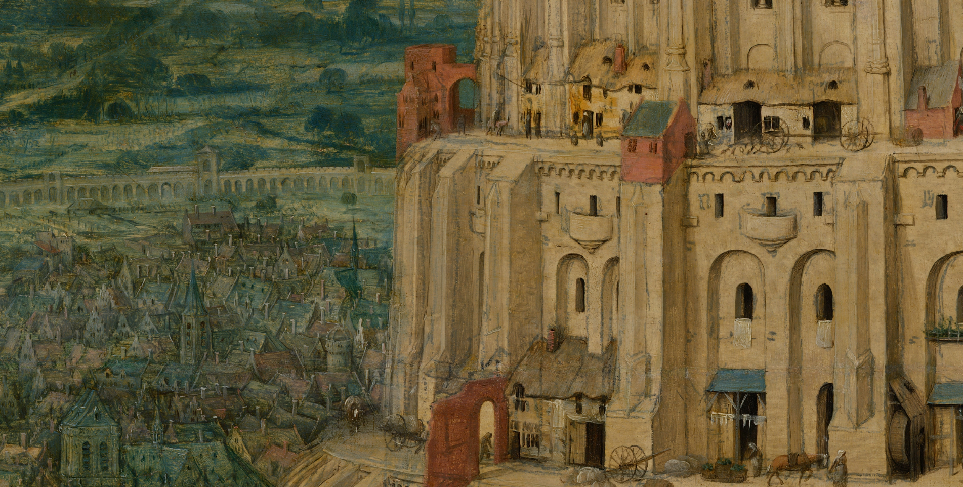 Pieter Bruegel, the Elder's painting The Tower of Babel in zoom view. Image of a city next to the tower being built.