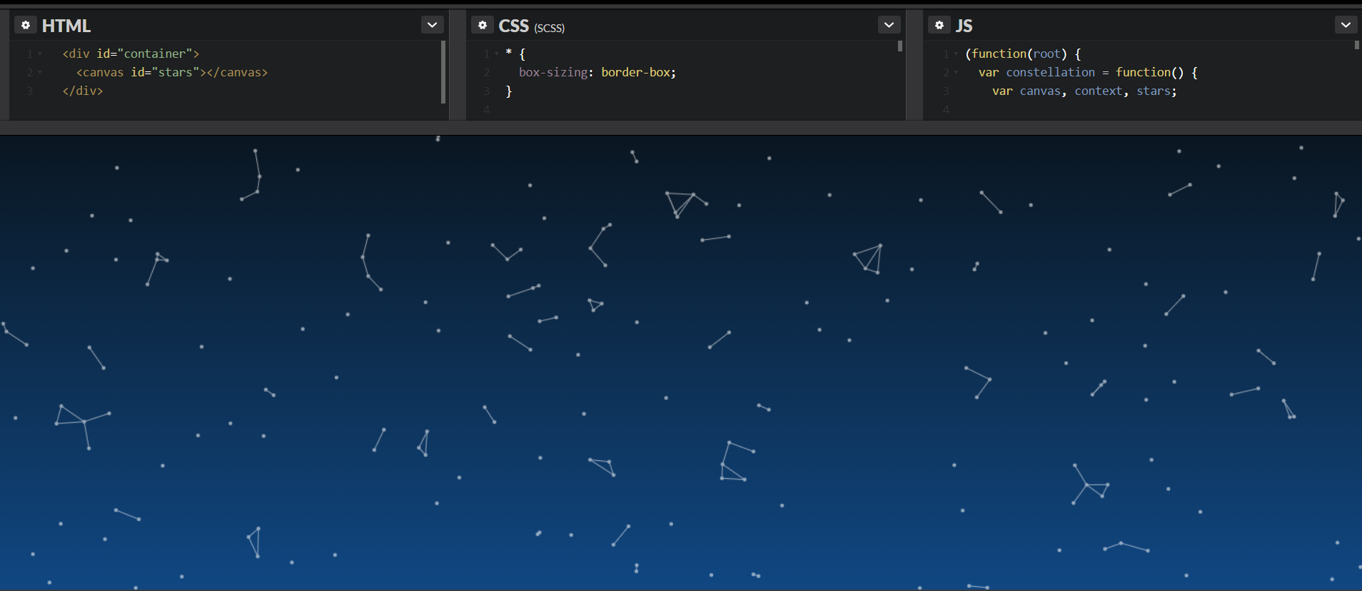 Constellation background with JS and TDD - Gildardo Adrian