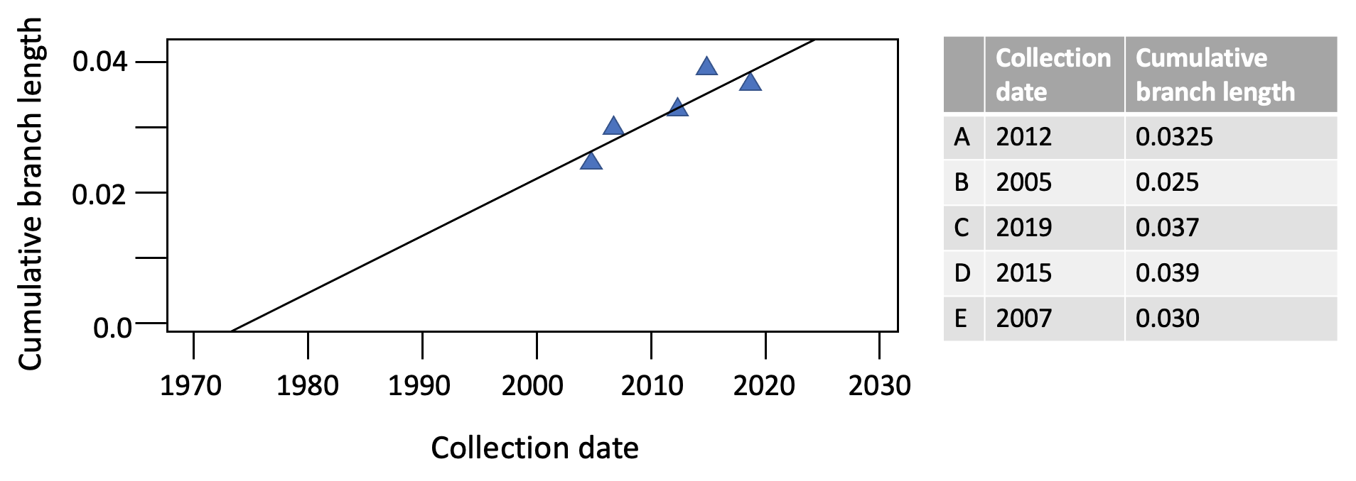 Plot of cumulative branch length vs. collection date.