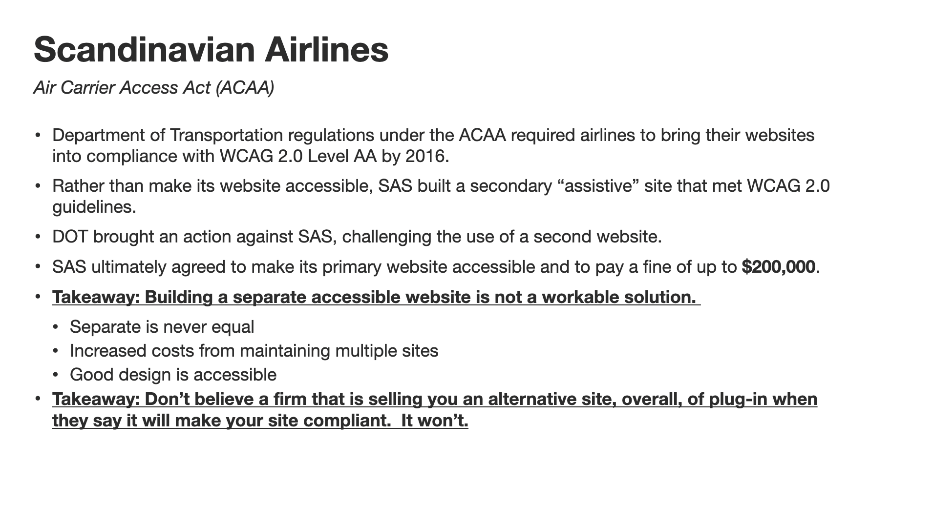 Legal slide regarding Scandinavian Airlines and the Air Carrier Access Act.
