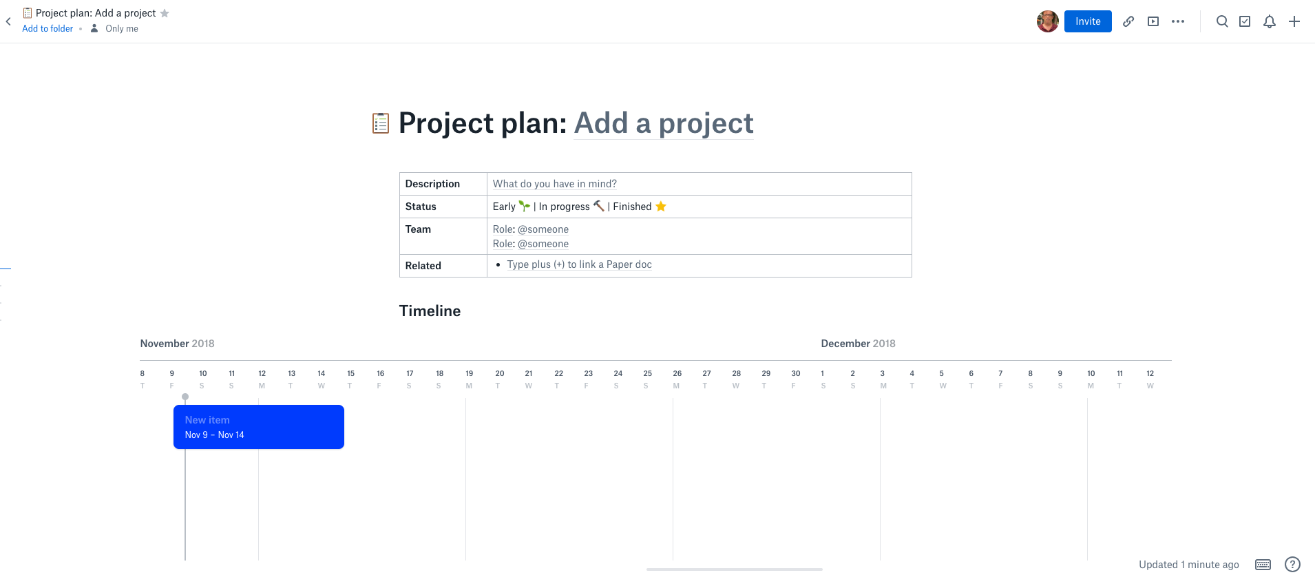 Dropbox Paper and the art of the project plan template