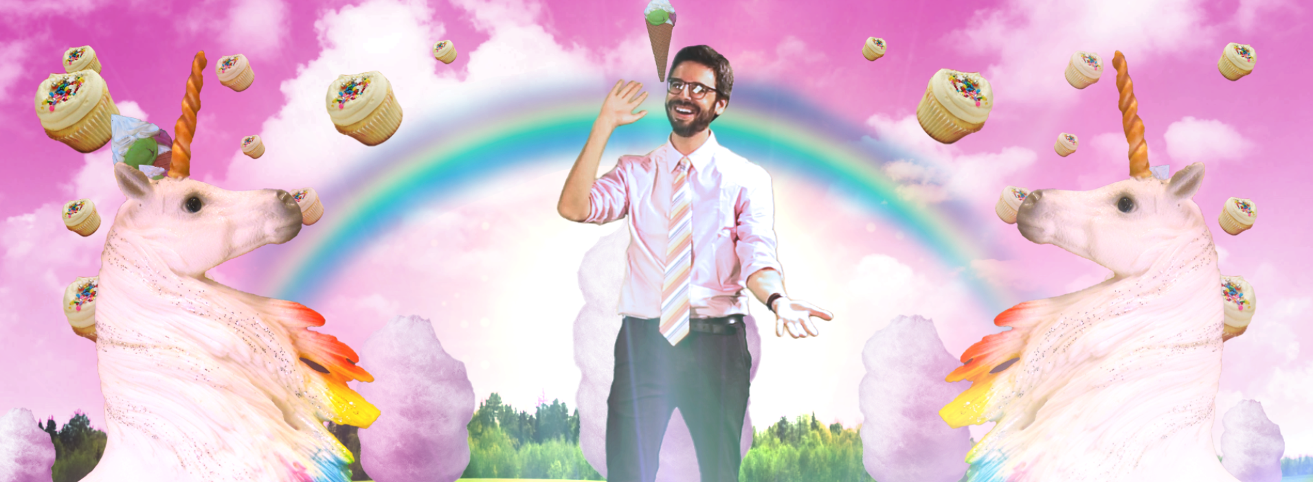 A smiling man in glasses and a pink shirt stands within an animation of rainbows, unicorns, and cupcakes.