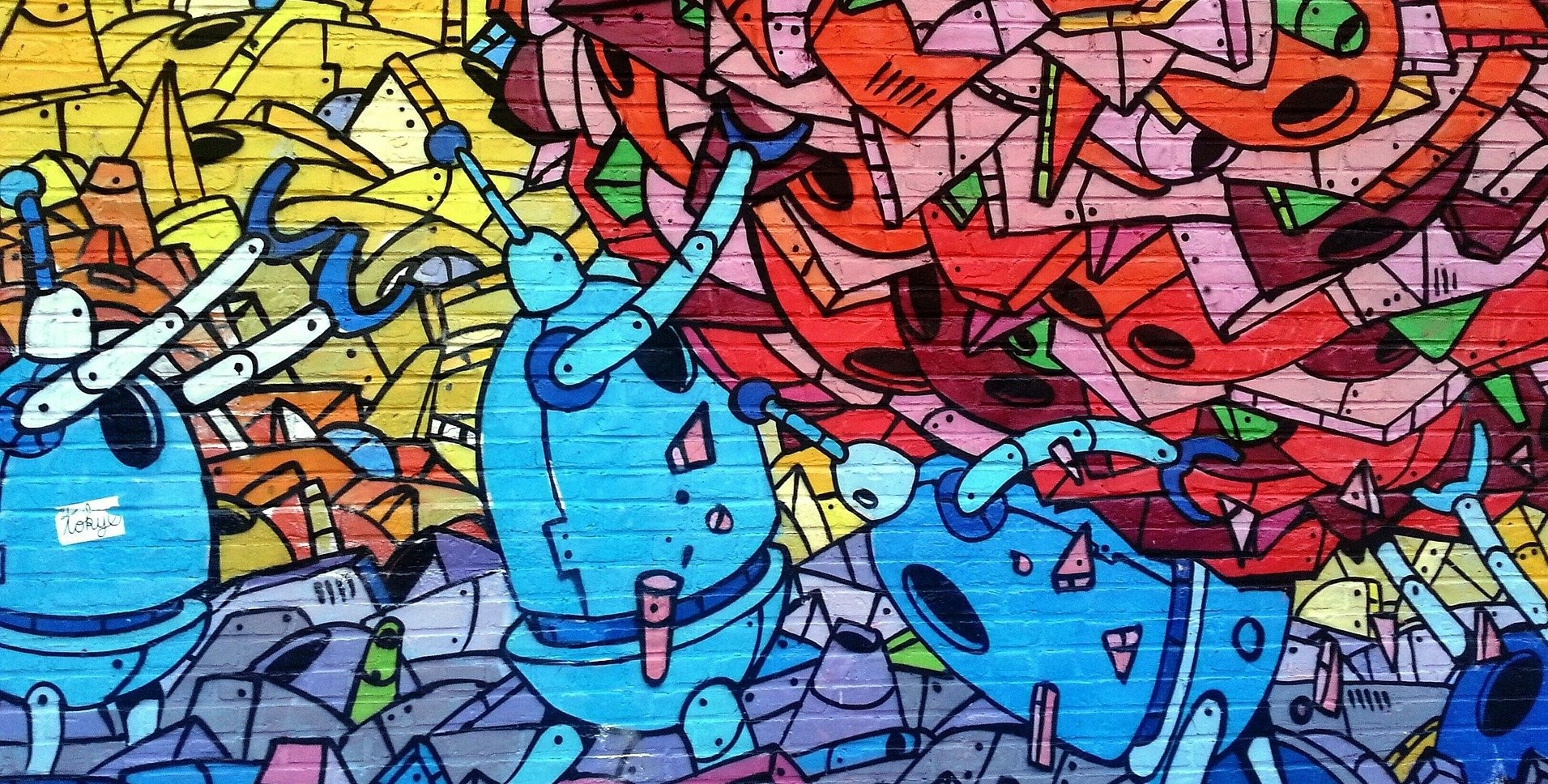 Street art mural with robots and colours