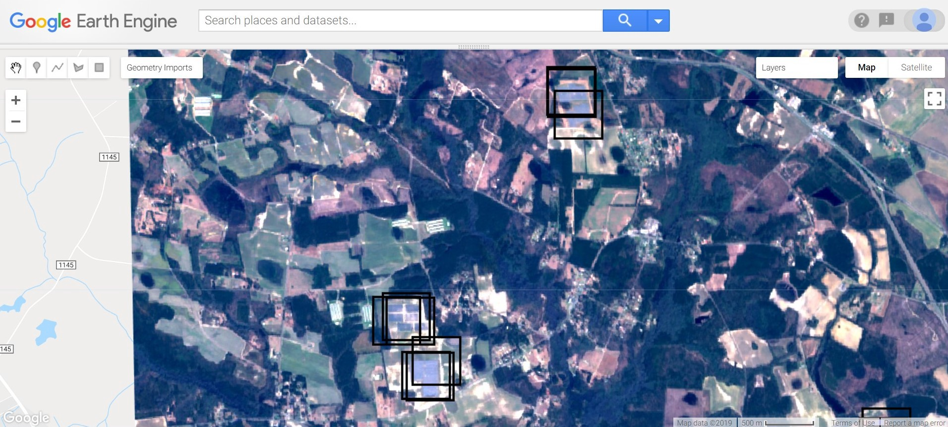 Construction shown on satellite imagery