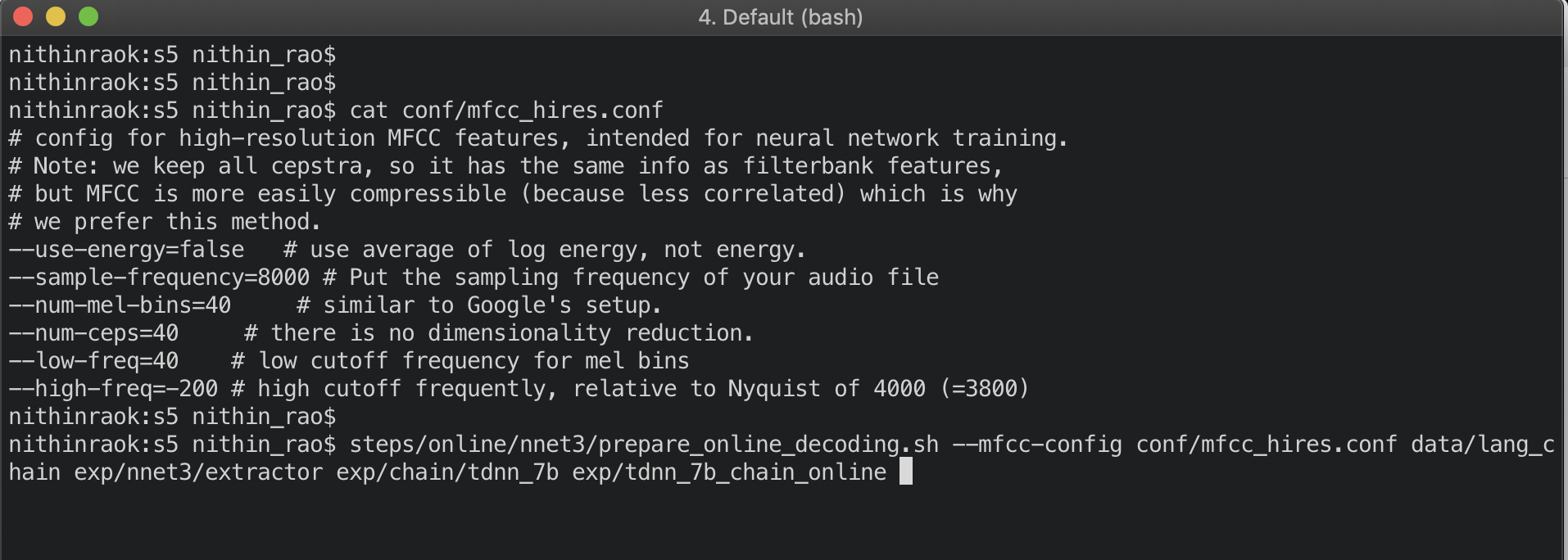 Decoding an audio file using a pre-trained model with Kaldi