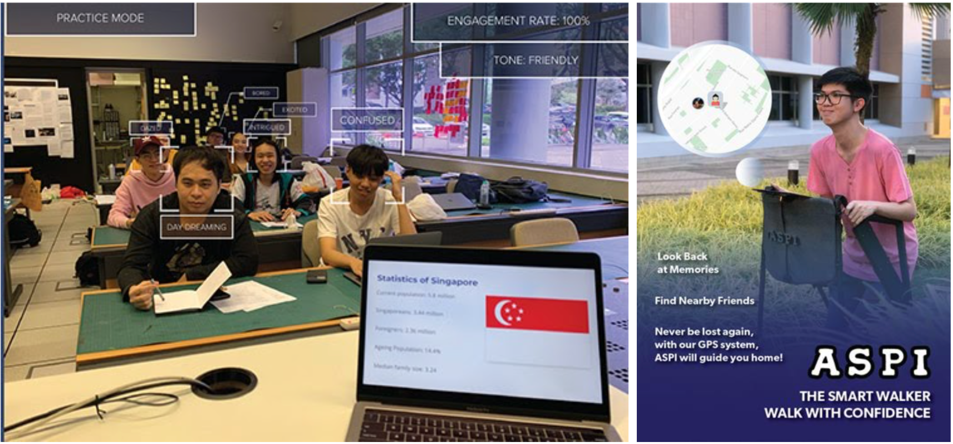 """Two examples of student projects. One shows a classroom of students from the perspective of someone presenting, with an AI overlay that shows each student's state, such as confused or daydreaming, and overall engagement rate and tone. The other is a mock ad with a photo of a young man using a walker and a map overlay that shows his location on a map. It says """"Look back at memories, find nearby friends, never get lost again with our GPS system, ASPI will guide you home. The smart walker."""""""