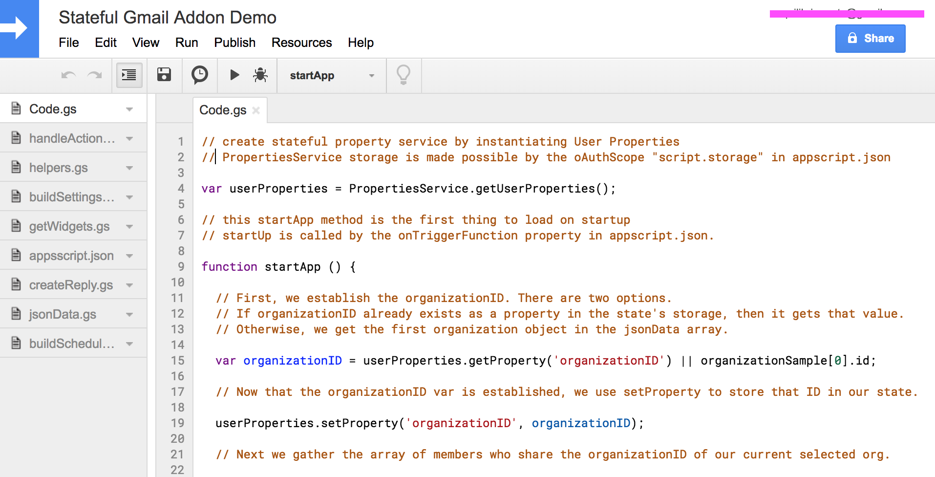 Google Apps Script: Creating Stateful Gmail Add-Ons