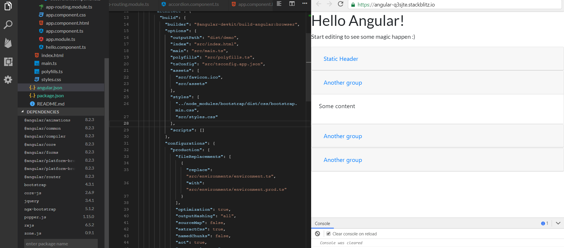 Using ngx-bootstrap on Stackblitz with Angular 8 - Ajdin