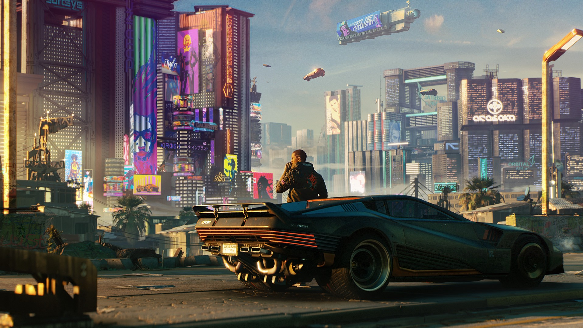 Cityscape of Cyberpunk's Night City. Main character leans on car while planes fly overhead.