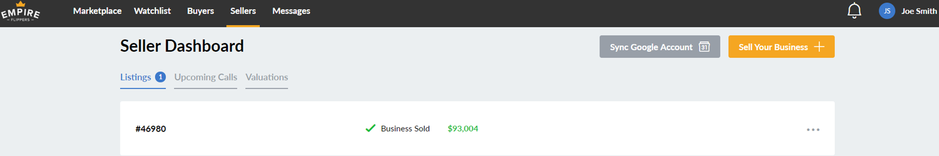 Sale proof from Empire Flippers Dashboard