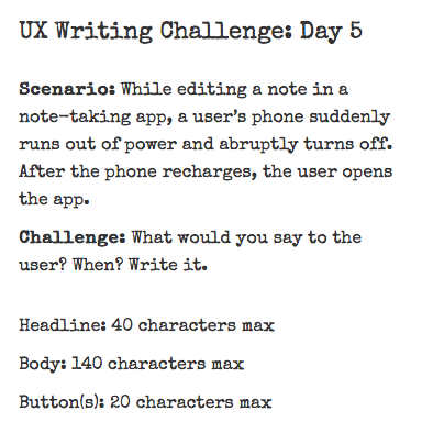 UX Writing Challenge: Days 5–6–7 - lauxcritora - Medium