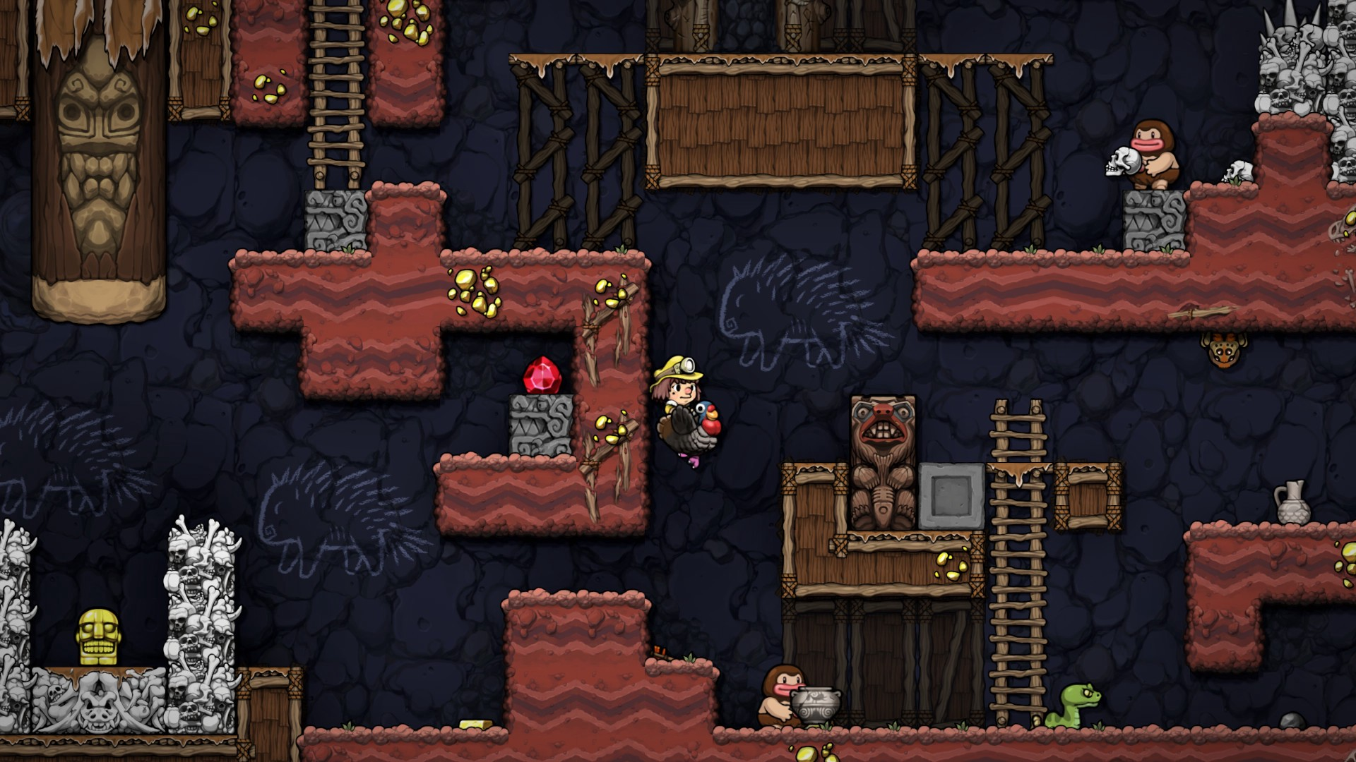 A randomly generated intricate Spelunky course