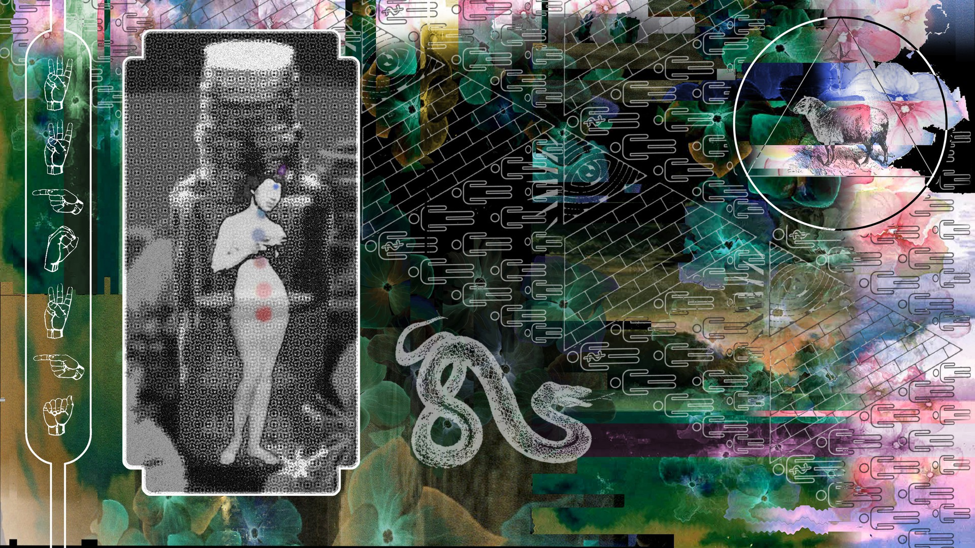 Collage of a snake, a sheep in a triangle, + a vintage photo of a nude person standing in front of an old bottle of medicine