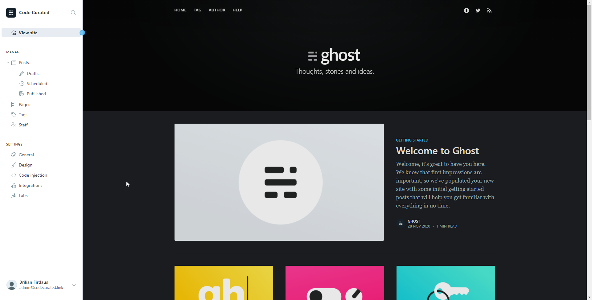 Self-hosted Ghost's admin page