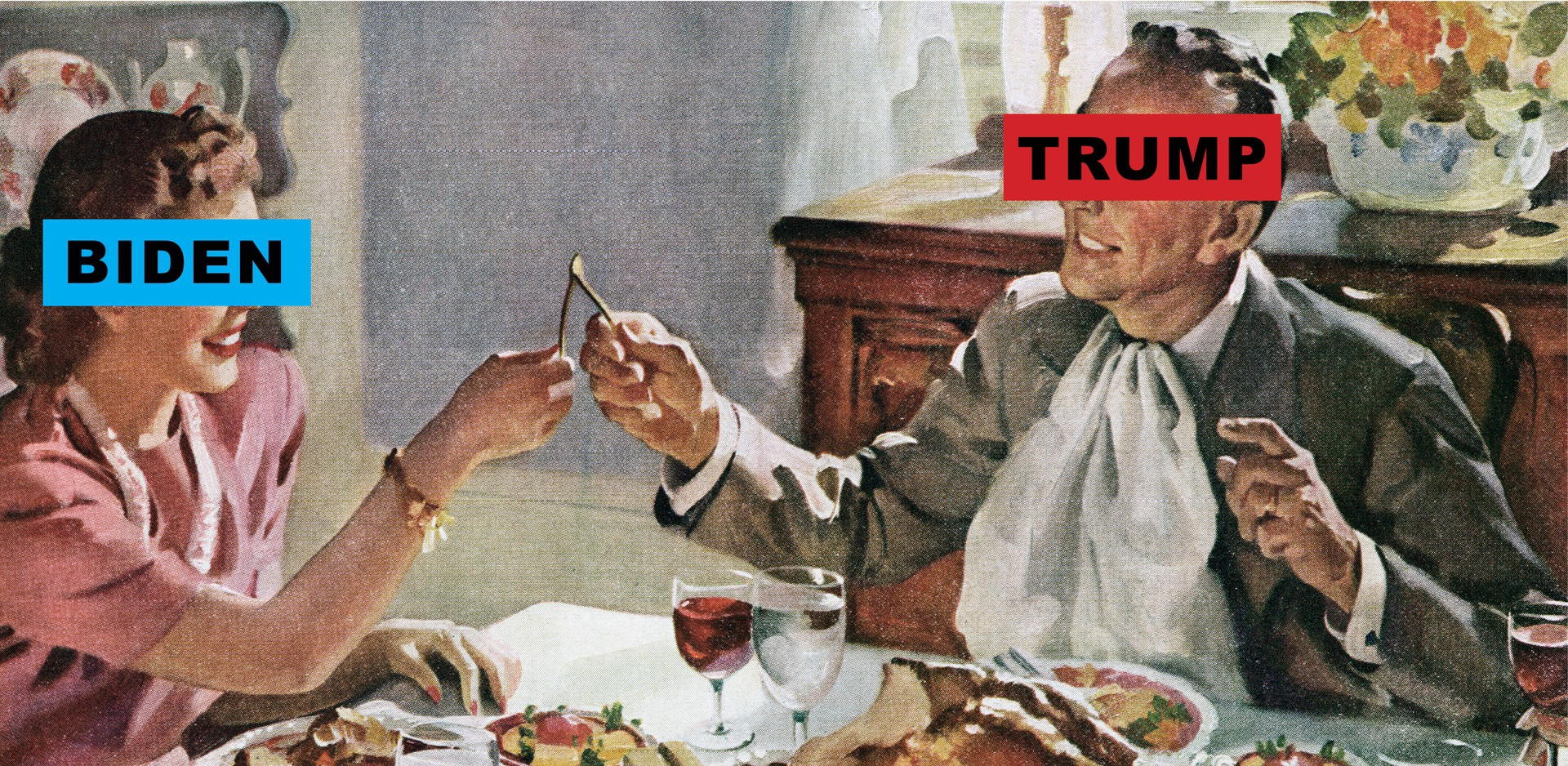 Vintage illustration of a husband + wife pulling the wishbone; the wife's face has text Biden on it, and the husband's Trump