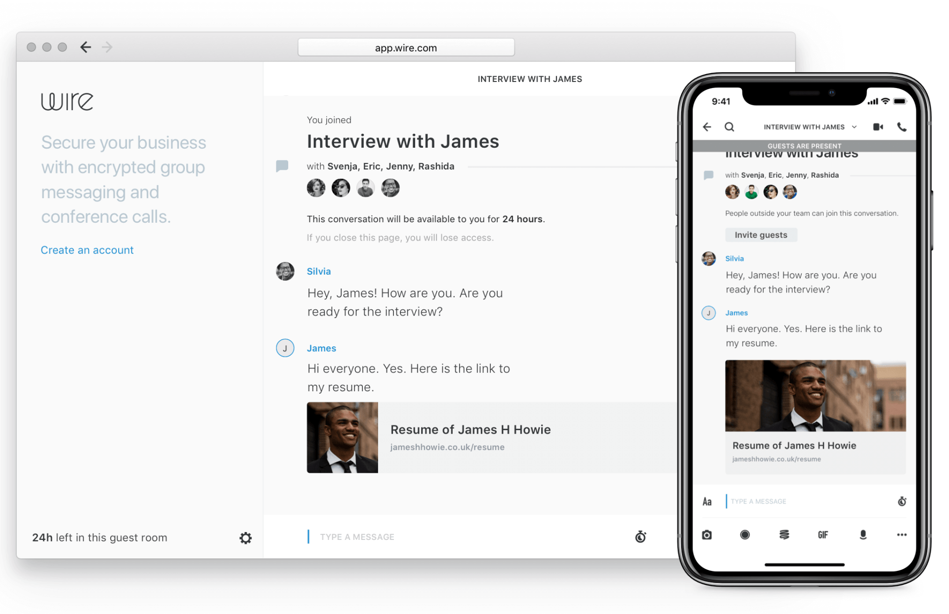 An example of Skype for business alternatives: Wire