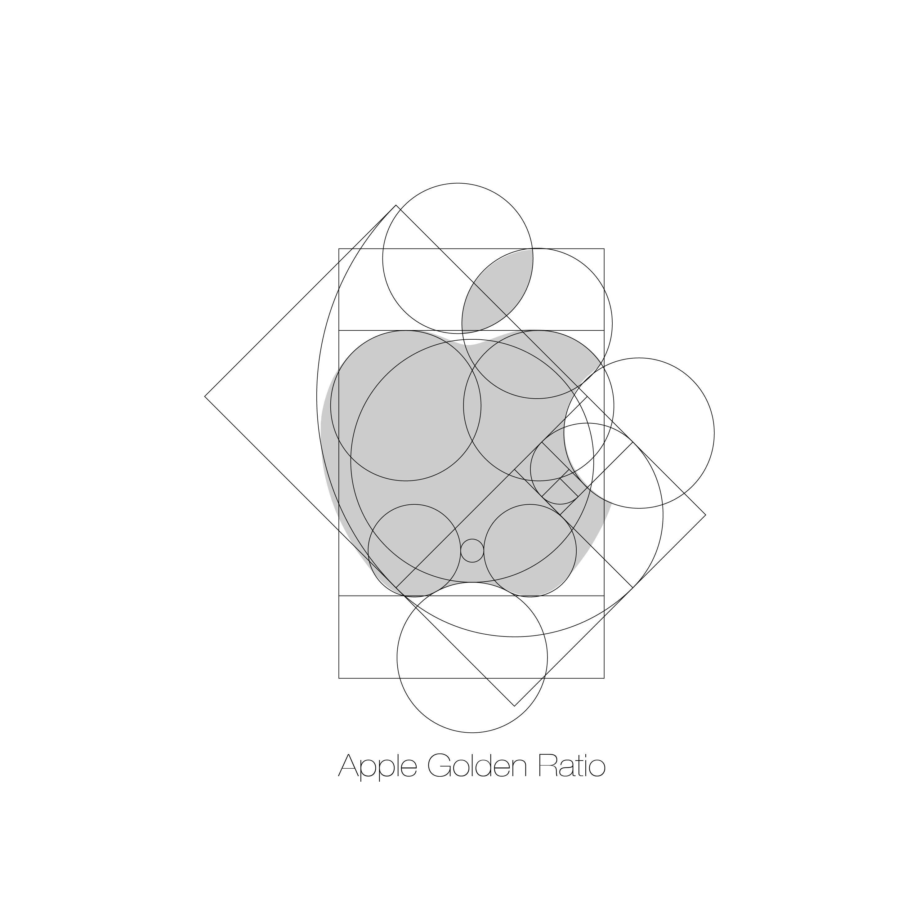 The apply logo with spherical cutouts showing their design process