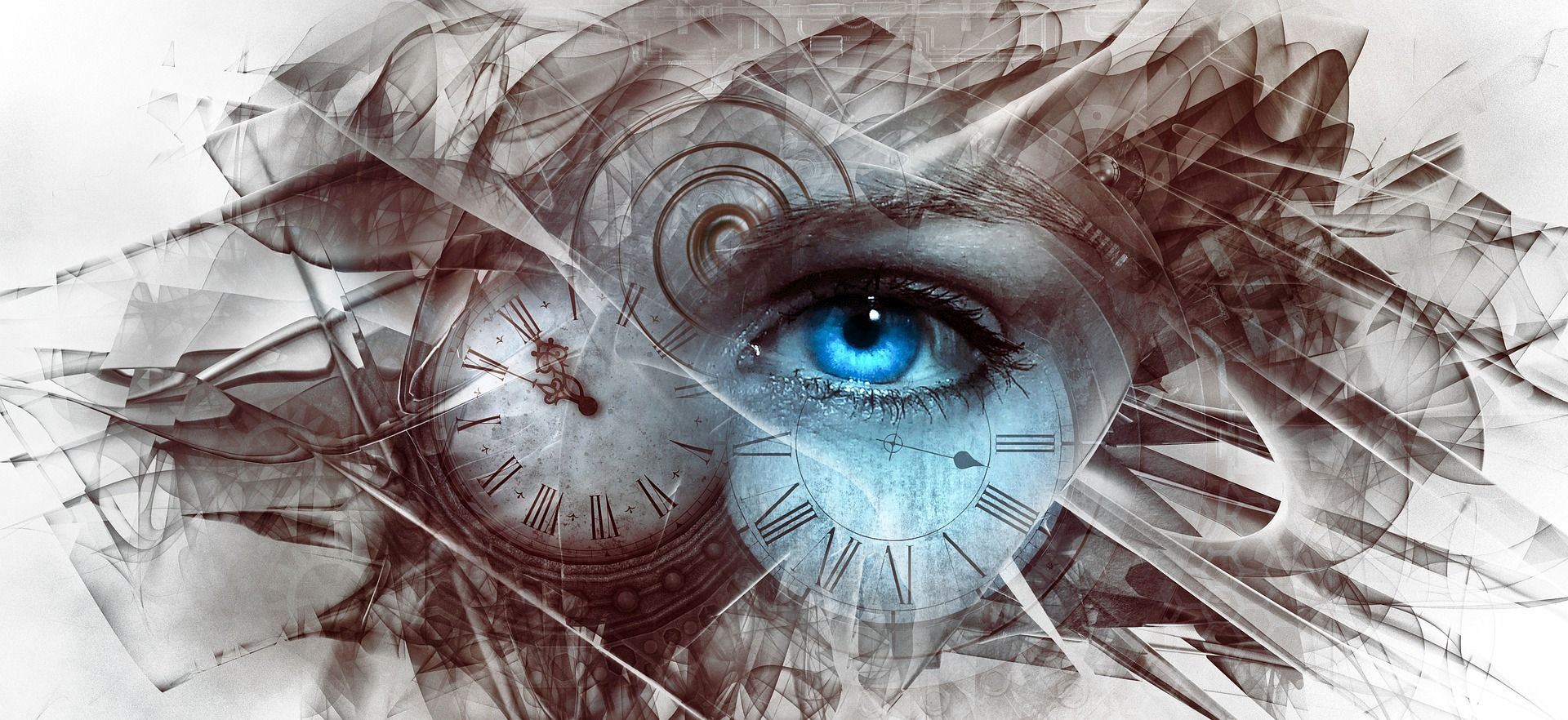 Abstract art depicting a human eye in the center of distorted clocks inferring a link to an alter-conscious state of mind.
