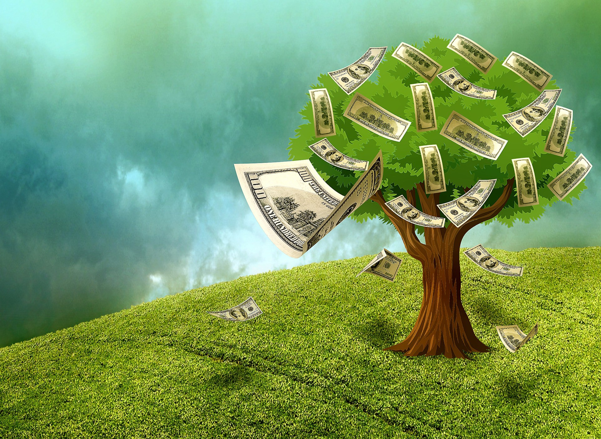 Tree with money blowing into the wind