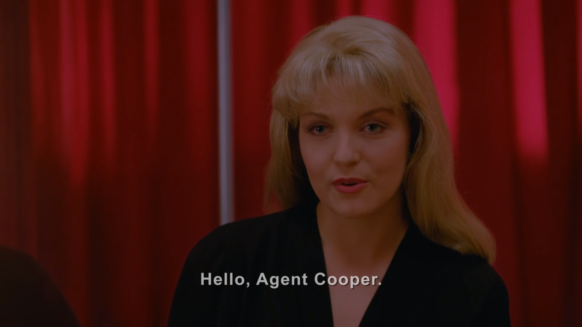 "Twin Peaks' Laura Palmer in the Red Room of the Black Lodge, saying ""Hello, Agent Cooper."""