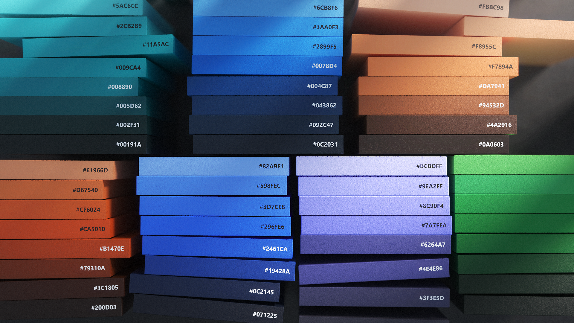 Colo palettes for blues, purples, greens, and oranges.